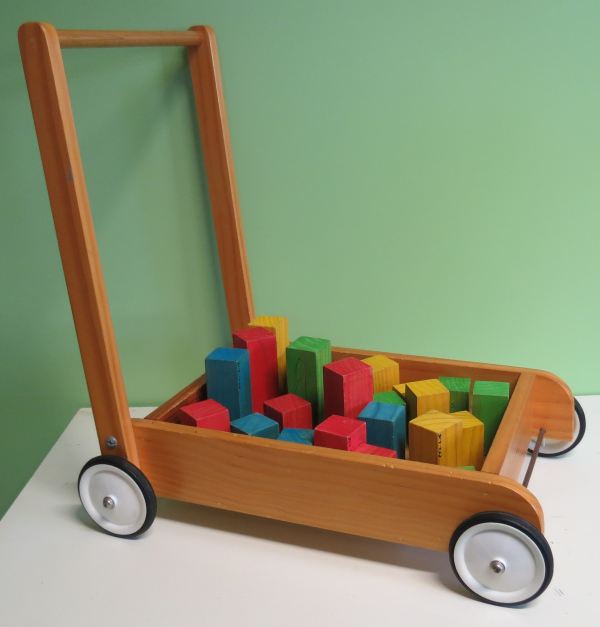 A015: Wooden Push cart with Blocks